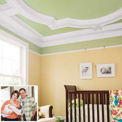 Nursery with new crown molding