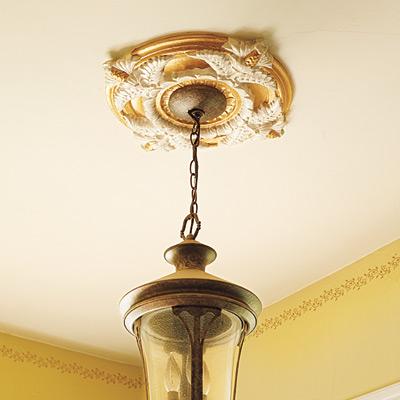Painted medallion ceiling fixture