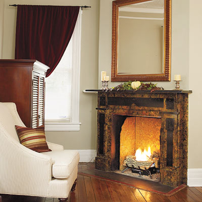 Remodeled queen anne living room and fireplace