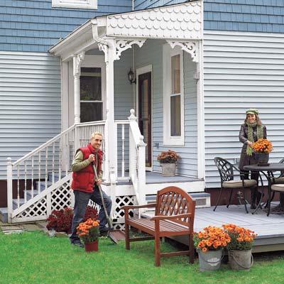 Queen anne backyard porch after remodel