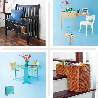 clockwise from top left: a storage bench, table with a pull-out work surface, step basket, drop-leaf dining table