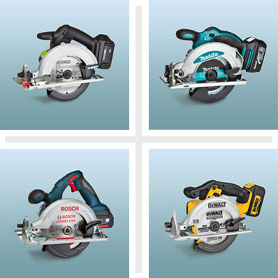 clockwise from top left: Rockwell, Makita, DeWalt and Bosch circular saws