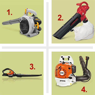 composite of four types of leaf blower for review