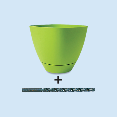 plastic pot with sharp twist bit