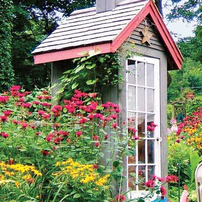 Exterior side view of the outdoor garden shed