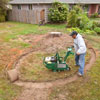 Removing the grass from the selected garden area 