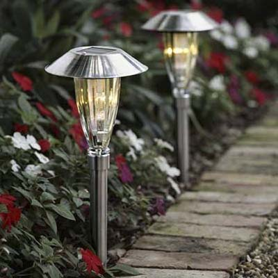 solar-powered walkway torches from Hammacher-Schlemmer