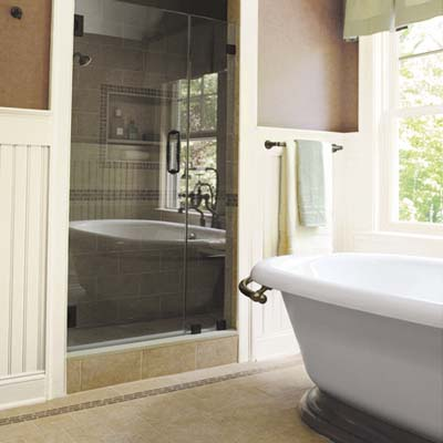 large windows and glass shower door adds light