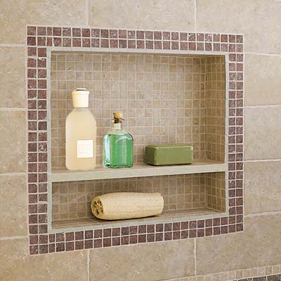 tiled shower area