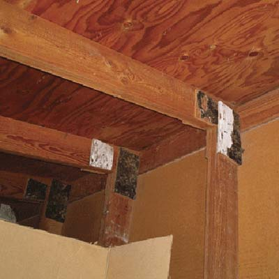 plywood gussets used to support joists
