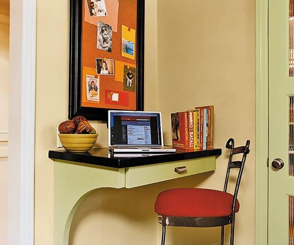 curved corkboard as a desk area