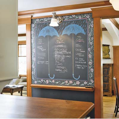 4x7 inches blackboard is placed on a wall between the kitchen and the dining room in the remodeled houseboat