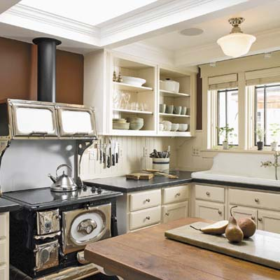 remodeled kitchen with gas cooktop and salvaged sink