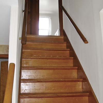 before photo of staircase in Cape Cod remodel