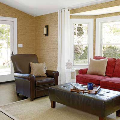 after photo of renovated family room in Cape Cod remodel