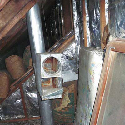 furnace gases discharged into an upstairs bedroom for heat