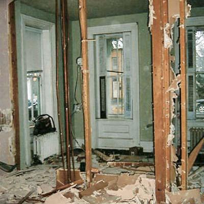 debris-covered parlor