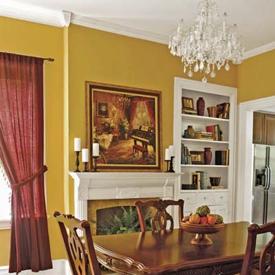 dining room with salvaged mantel and chandelier