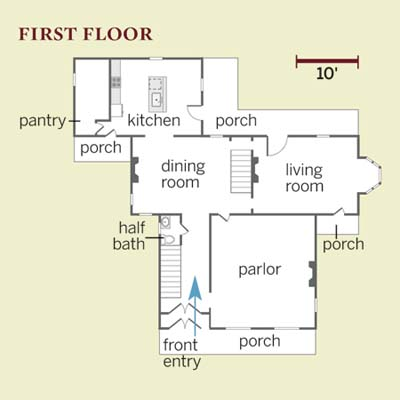 floor plans of 1st floor in Second Empire remodel