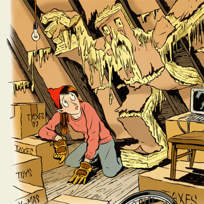 insulation monster breaking out of attic wall behind the back of a woman kneeling in her attic