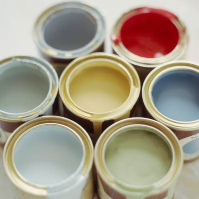 open paint cans