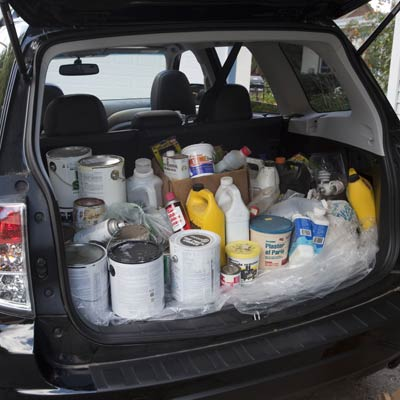 household products in trunk of a car
