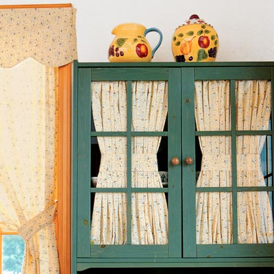 kitchen green kitchen cabinets and interior curtains