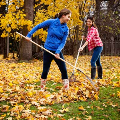 two teenage girls raking leaves in yard