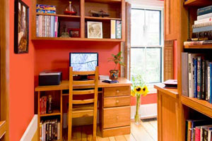 Built-In home office and library with Bonus Bath