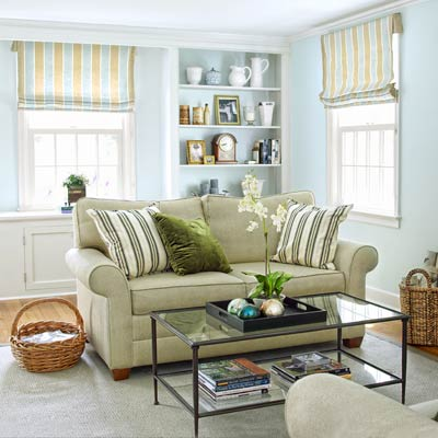living room of colonial revival home