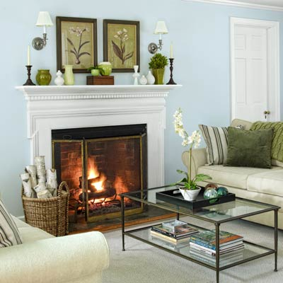 fireplace in living room of colonial revival home