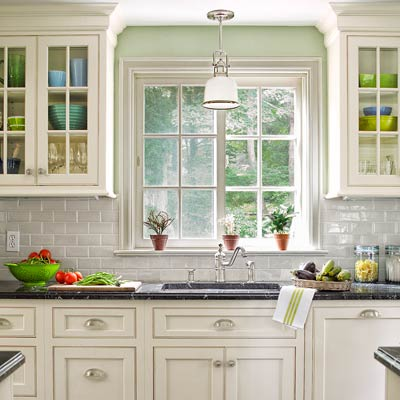 white kitchen of colonial revival home