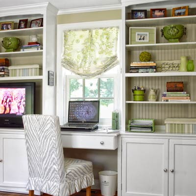 custom built-ins in office of colonial revival home