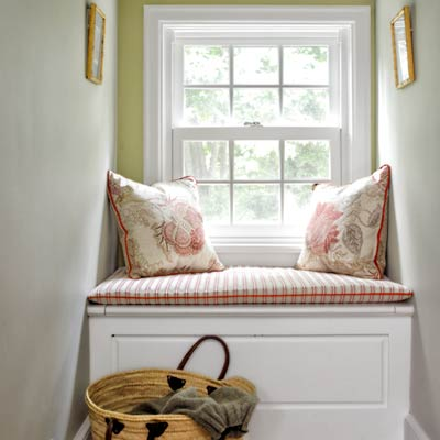 window seat in colonial revival home