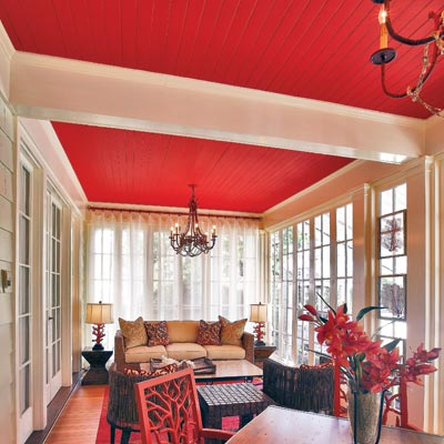 color used to tie together a room with a high ceiling and make it look cozier