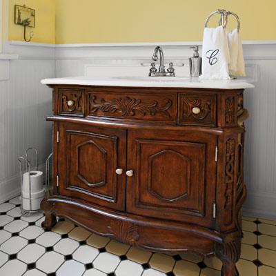 vintage-style bath vanity