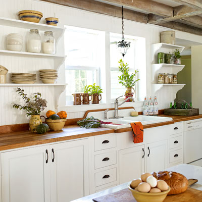 bright farmhouse kitchen redo after inspiring home