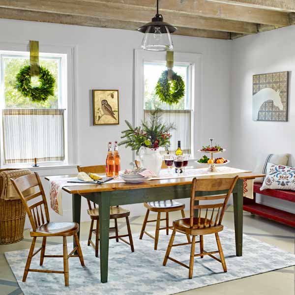 get this look festive farmhouse dining room with wood table, spindles chairs and green accents