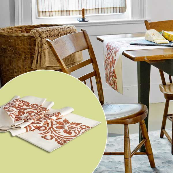 get this look festive farmhouse dining room with white and red block-print runner