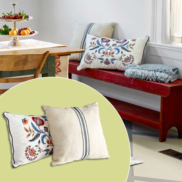 get this look festive farmhouse dining room with throw pillows