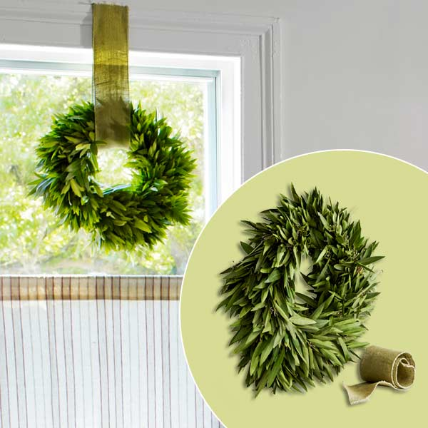 get this look festive farmhouse dining room with herb wreath and ribbon