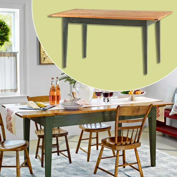 get this look festive farmhouse dining room with vintage-look farm table