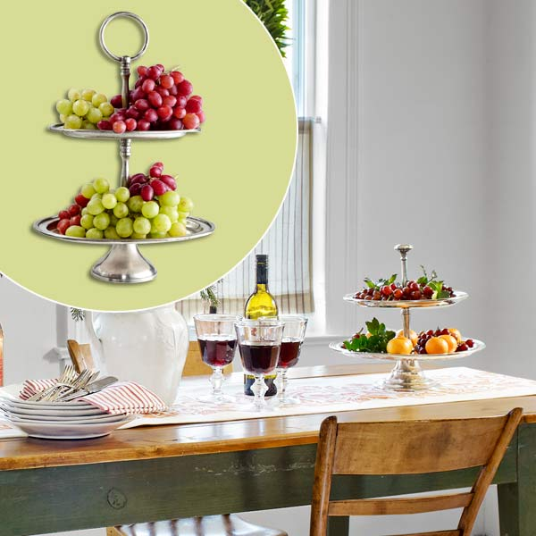 get this look festive farmhouse dining room with pewter server