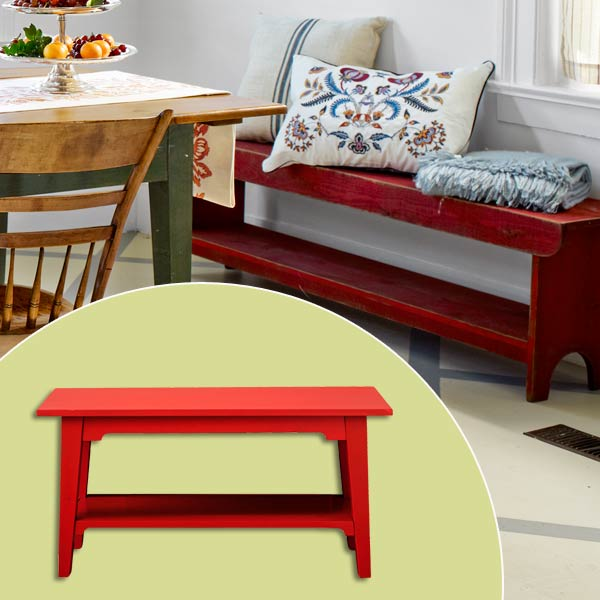 get this look festive farmhouse dining room with rust red side bench