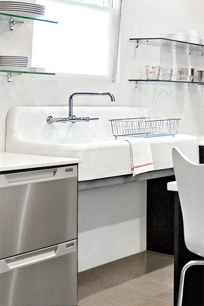 Steel Tubing used as Sink Support as an example of Low-Cost Custom Details from Design Pros' Own Homes from this old house