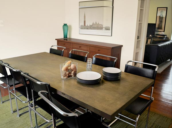 Interior Door used as Dining Table as an example of Low-Cost Custom Details from Design Pros' Own Homes from this old house
