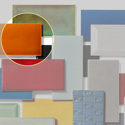 ceramic subway tile with orange gloss