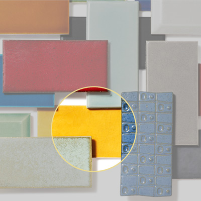 ceramic subway tile in yellow gloss