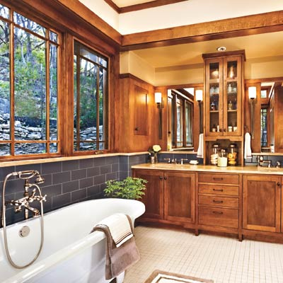 Craftsman style bathroom with clerestory windows, Prairie-style casement and wood trim