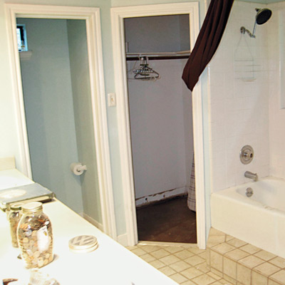 bathroom with closets before makeover